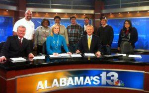 MC 215 class visits Alabama's Channel 13 News.
