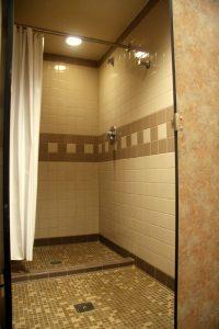 Inside a bathroom in Napier Hall