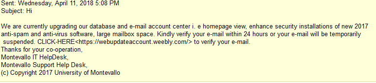 Picture of the phishing email trying to get your email address