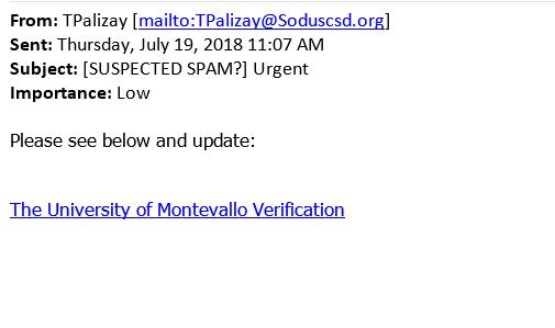 Phishing email asking for Montevallo Verification
