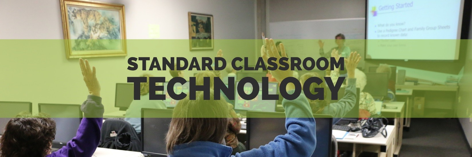 "Students raising hands in classroom with text ""Standard Classroom Technology"""
