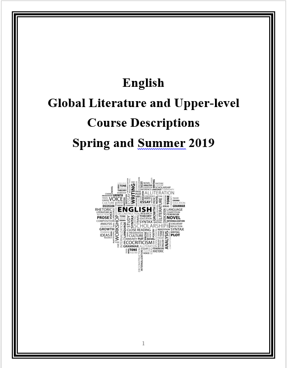 PDF of Sping and Summer 2019 Global Literature and Upper-level English classes