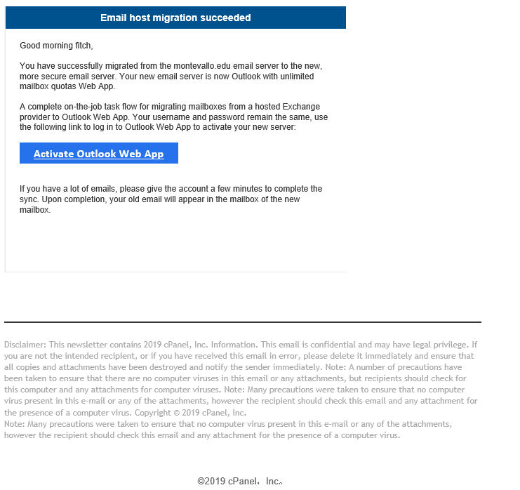 Phishing Email attempting to capture Email information.