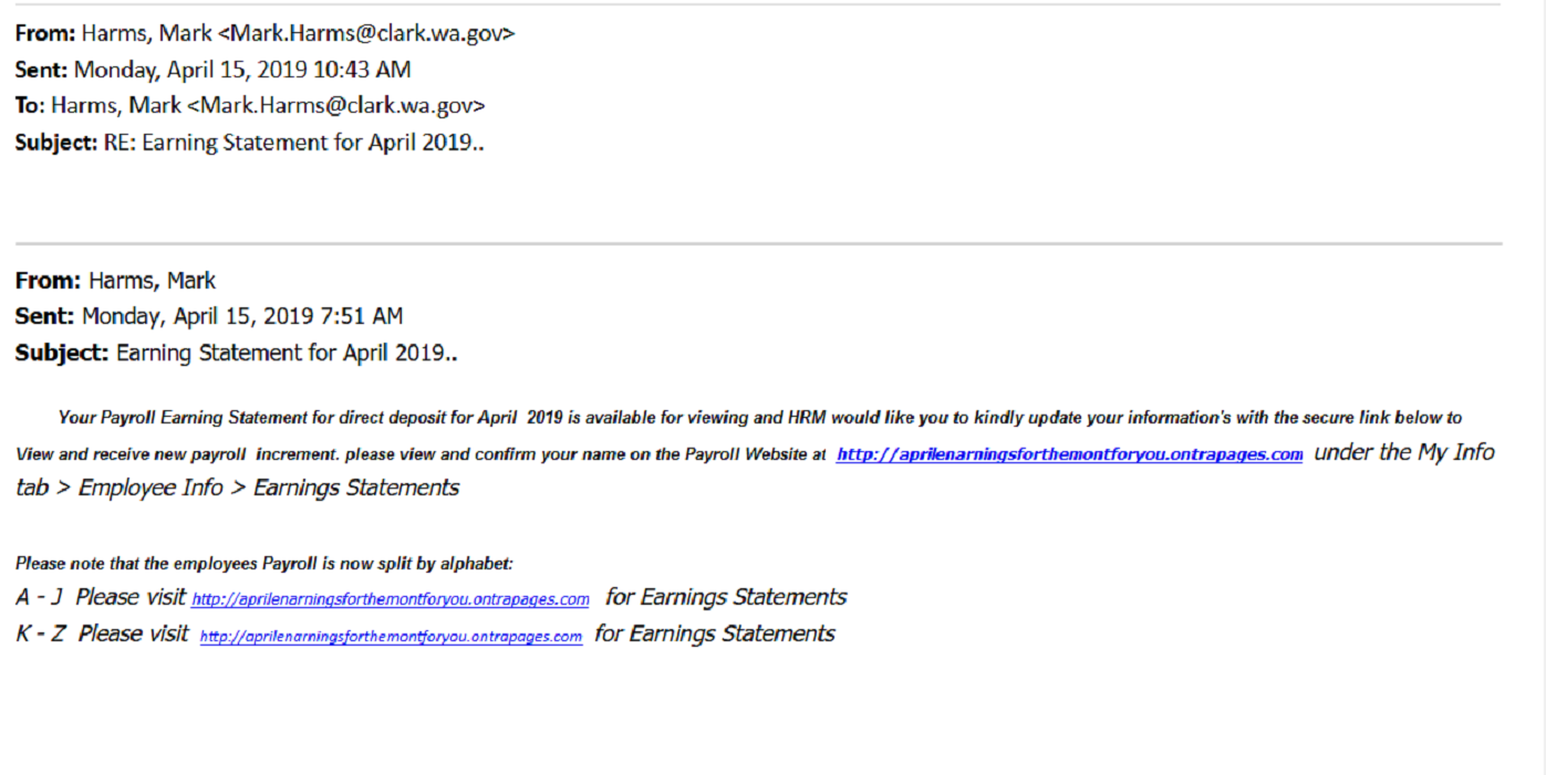 Phishing email targeting faculty and staff payroll information.