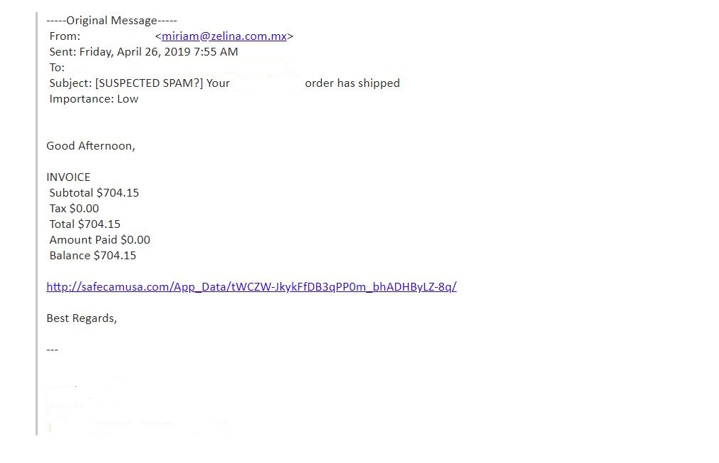 Screenshot of a scam email with a false invoice.