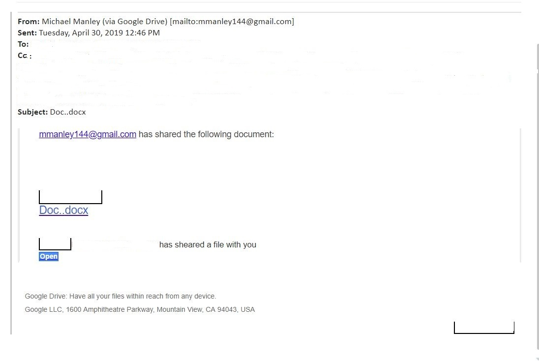 A phishing email targeting shared documents.
