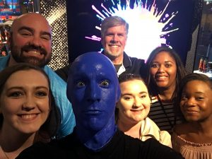 MC faculty and students networked with MC alumnus Fred Bell ('84) at the Blue Man Group show in Las Vegas. Fred is the Lead Video Tech for BMG Vegas.