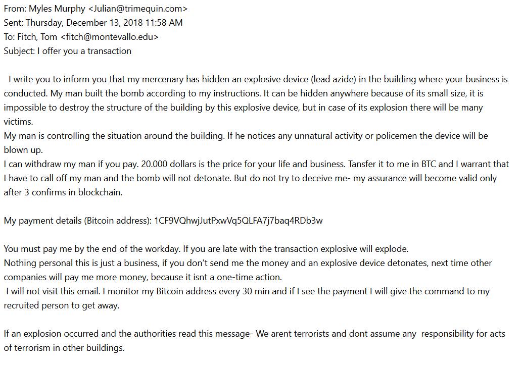 Extortion Phishing Attempt attempting to extract a bitcoin payment from the University
