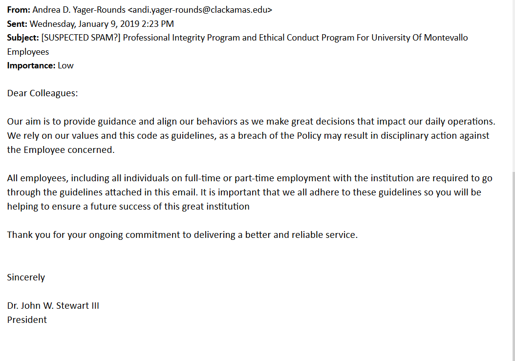 Phishing email spreading false faculty/staff guidelines