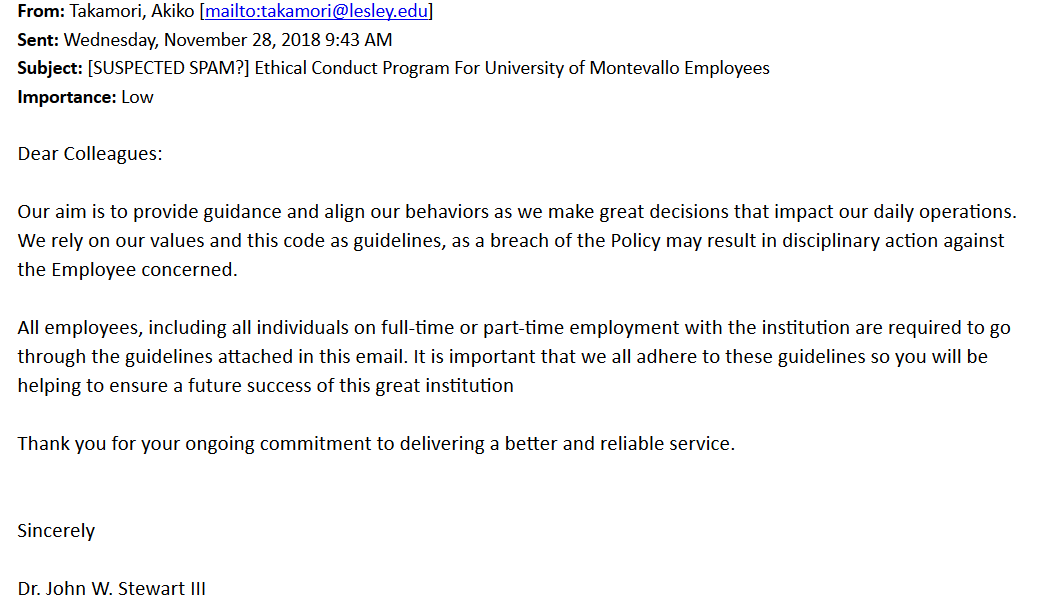 An email spreading false faculty and staff employee deadlines