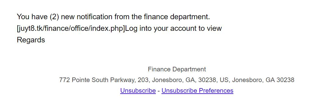 An email trying to access the financial information of the user.