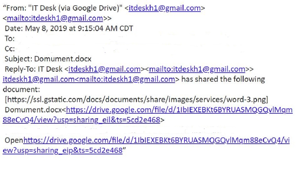 Phishing email used to get people to access a malicious Google Drive