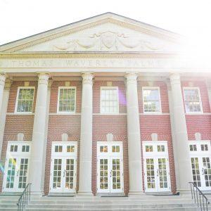 Palmer Hall with sun shining down