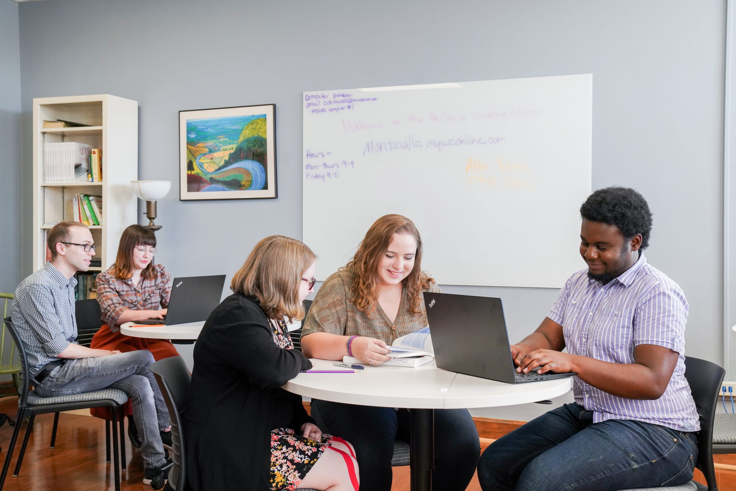 Montevallo students collaborate at the Harbert Writing Center.
