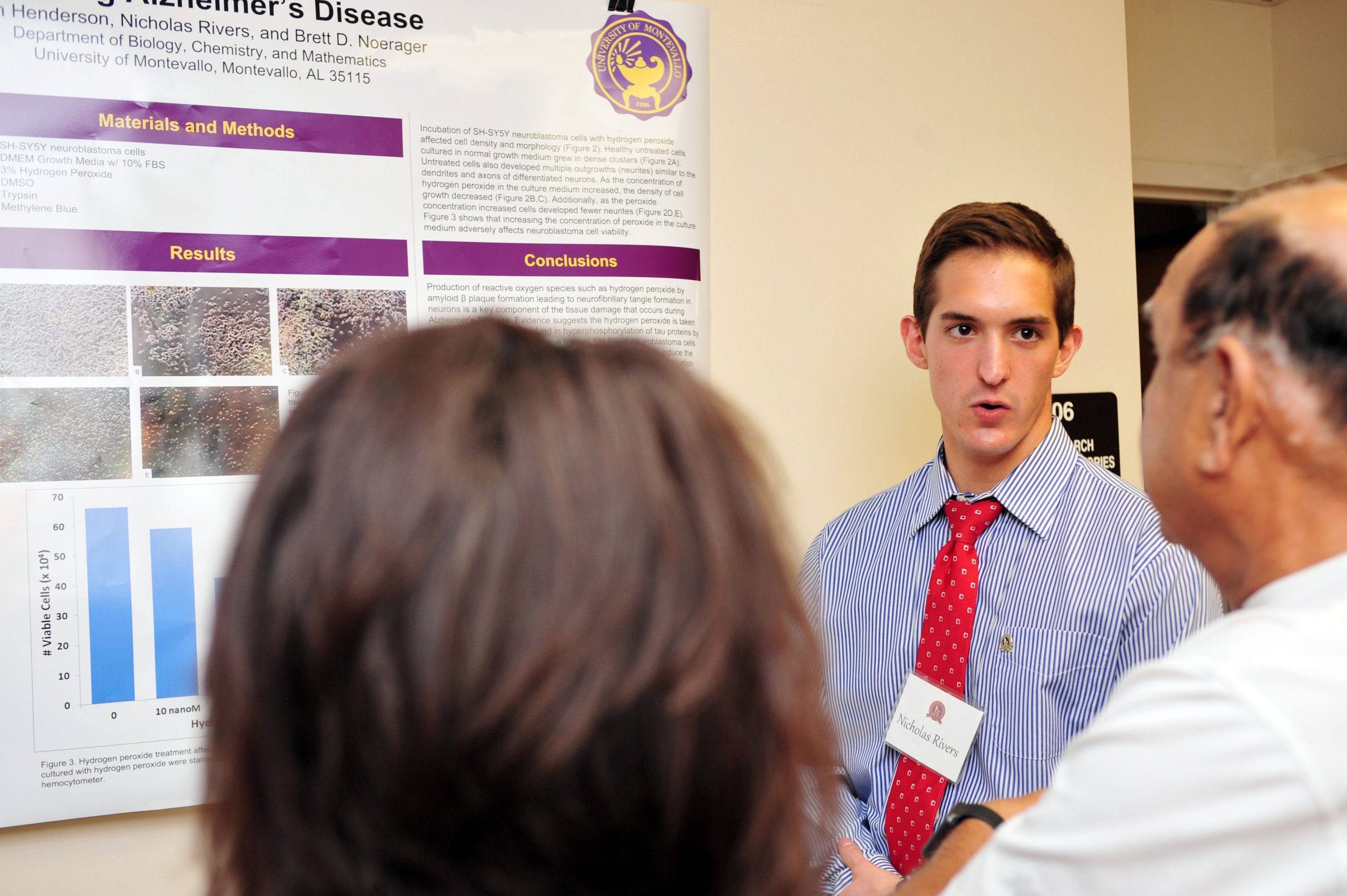 A Montevallo student presents findings at undergraduate research day.