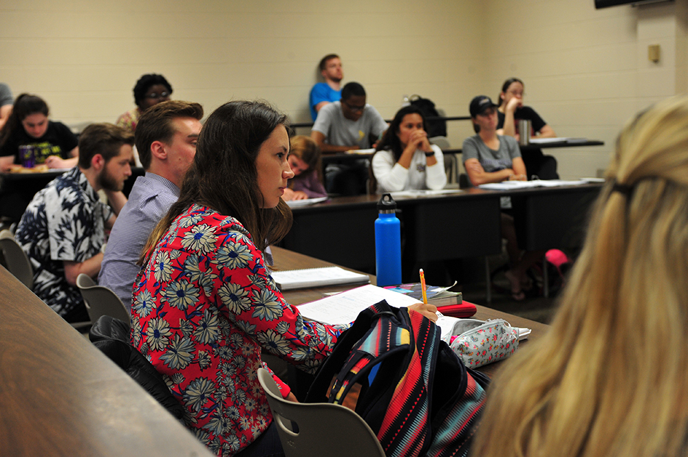A Montevallo student listens to a presentation.