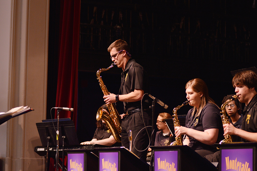 A Montevallo student plays a saxophone.