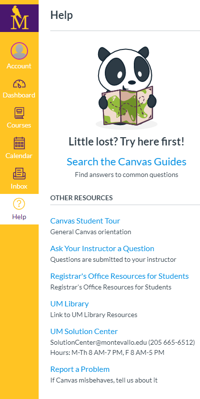 UM-Student-Help-Menu