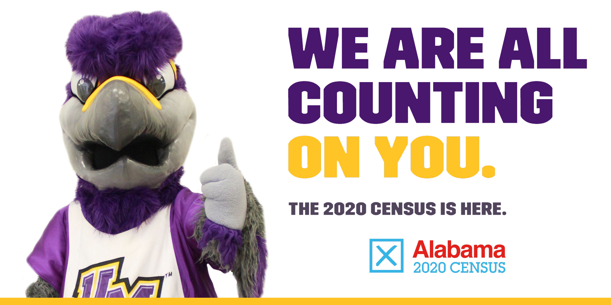 2020 Census graphic with Freddie the Falcon