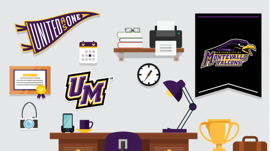 Montevallo Athletics pennant Zoom background