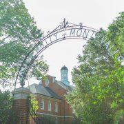 UM campus gates in the spring.