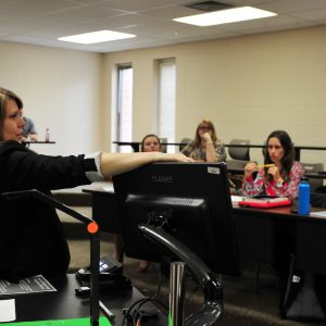 A Montevallo professor lectures students in the classroom.