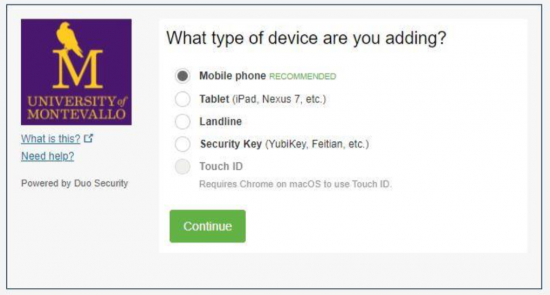 Duo two-factor authorization device selection screen